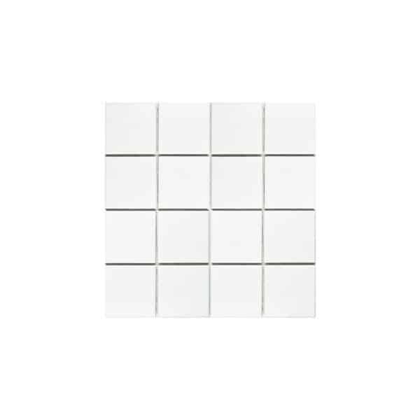 Plain white mosaic tiles