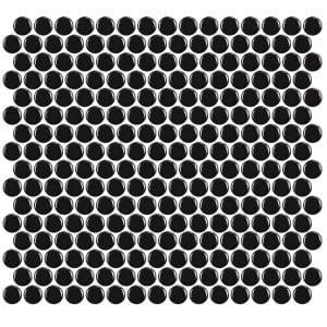Penny Round Gloss Black tiles