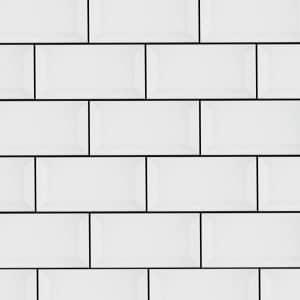 Subway Bevelled edge gloss white wall tiles