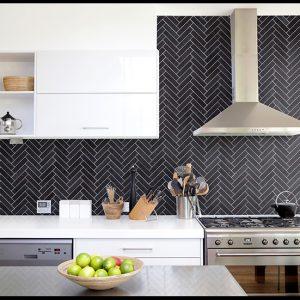 Montage Soho Nero Herringbone tiles
