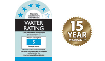 WELS 5 star rating and 15 year warranty