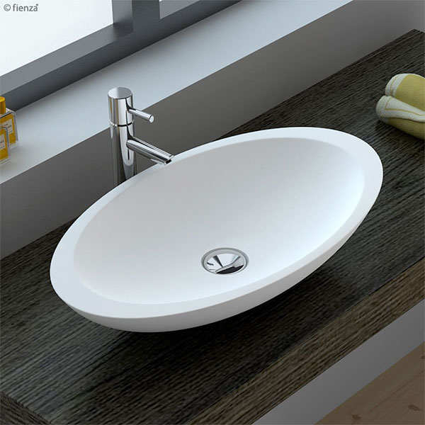 Bahama Matte White Solid Surface Basin