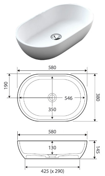 Nero solid surface basin specifications
