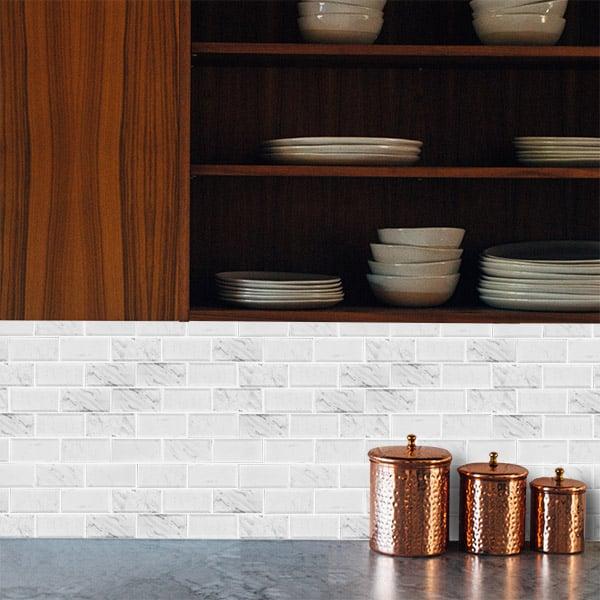 Calacatta Brick Bevelled Polished Mosaic tiles