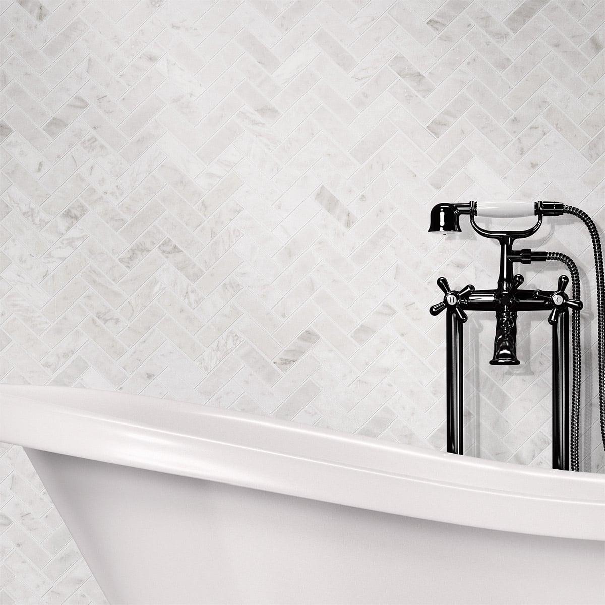 Carrara Herringbone Polished Mosaic tile sheet