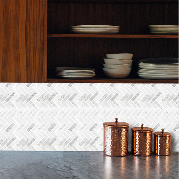 Carrara Herringbone Polished Mosaic tiles