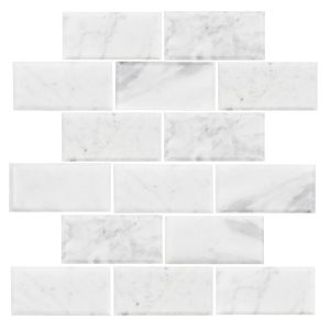 Carrara Brick Bevelled Polished Mosaic tiles