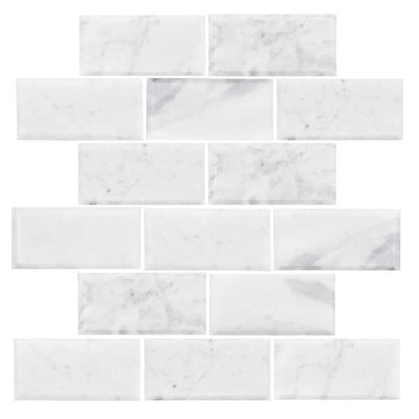 Carrara Brick Bevelled Polished Mosaic tiles