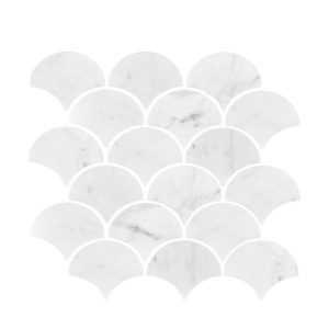 Carrara Fan Polished Mosaic tiles