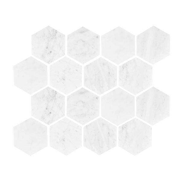 Carrara Hexagon Honed Mosaic sheet