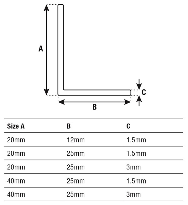 DTA Trim Aluminium Angle Specifications