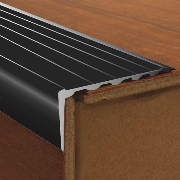Dta Tile Trim Aluminium Stair Nosing Long Riser 68mm Black