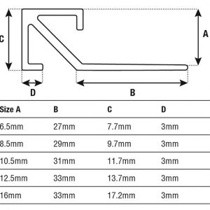 DTA Trim Corner Piece Square Edge Specifications