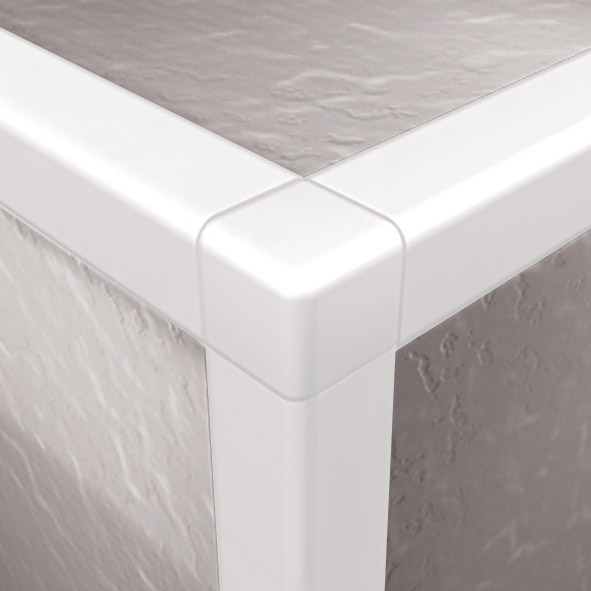 Dta Tile Trim Square Edge Corner 10mm White 2 Pack
