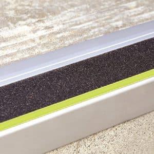 DTA Trim Stair Tread Matte Silver with black anti-slip luminescent