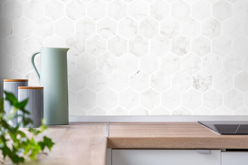 Herringbone And Hexagon Tile Bathroom