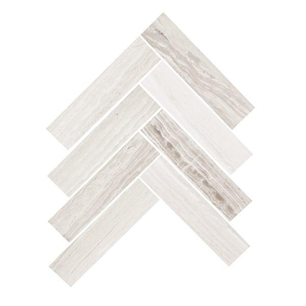 Grey Wood Herringbone Mosaic Tile 205x205 Sheet