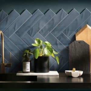 Pasha Dark Blue Subway tiles