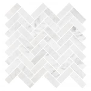 Carrara Herringbone Mosaic tiles