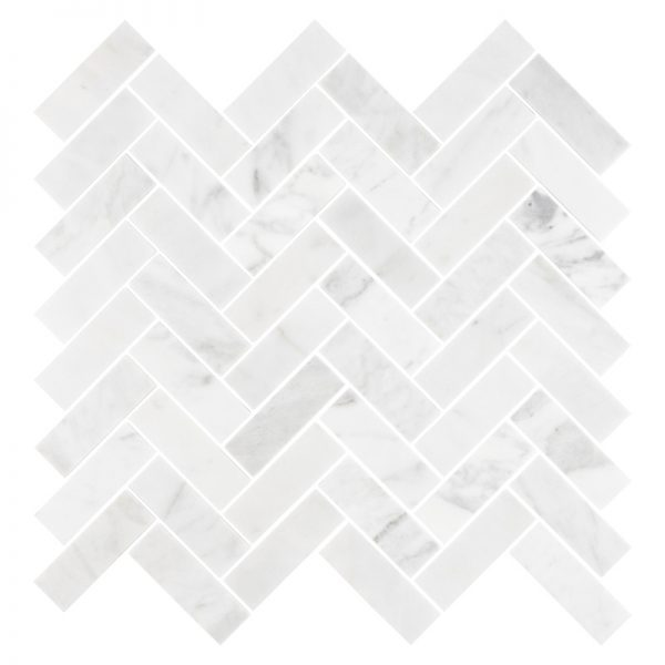 Carrara Herringbone Mosaic tiles