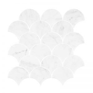 Carrara Marble Small Fans Mosaic tiles Sheet