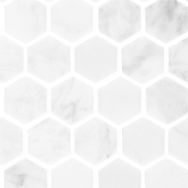 Carrara Marble Small Hexagon Mosaic tiles sheet