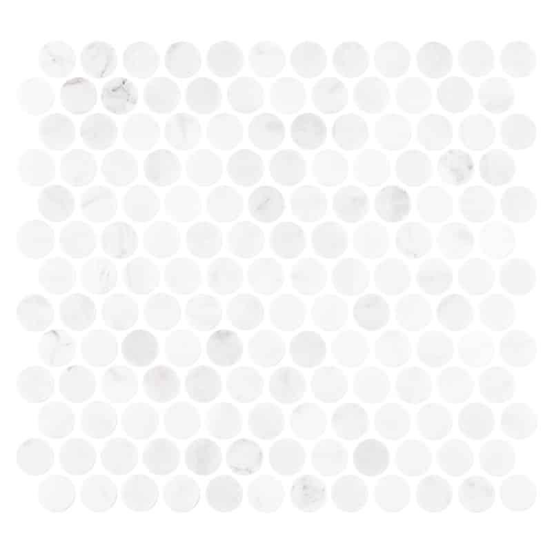 carrara marble penny round honed mosaic tiles 288x305
