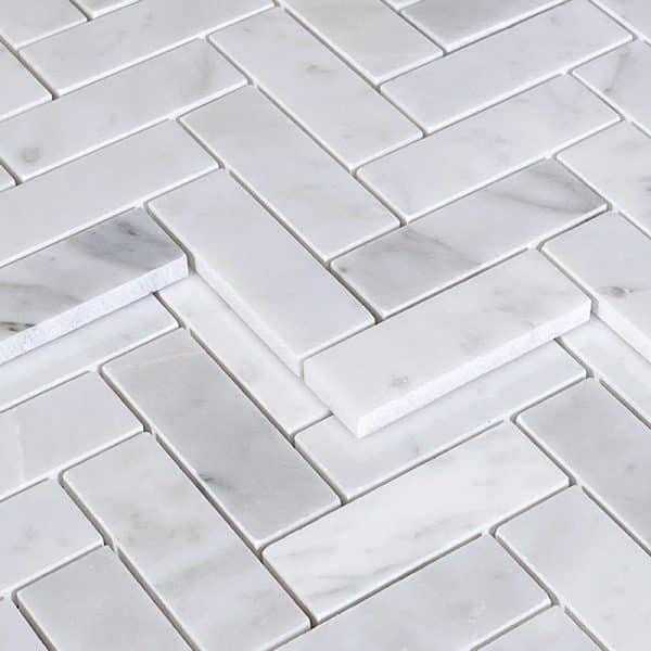 Carrara Herringbone Mosaic tile sheets