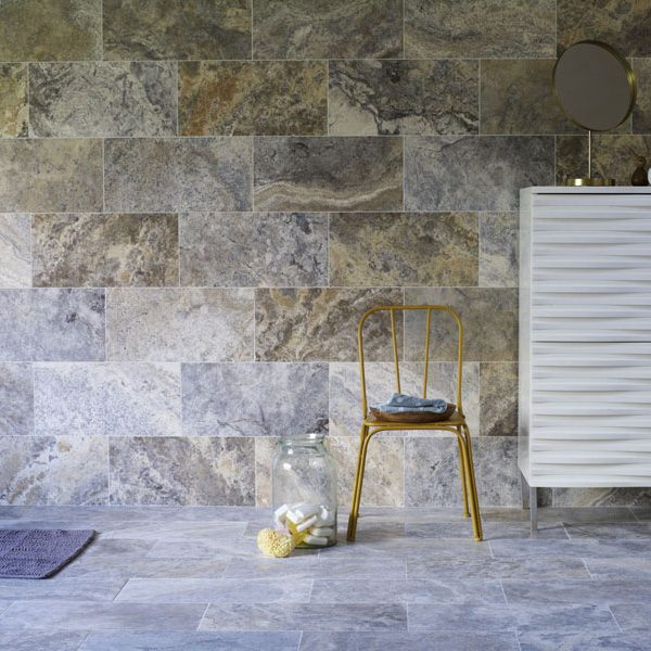 Silver Honed Filled Travertine Stone tiles