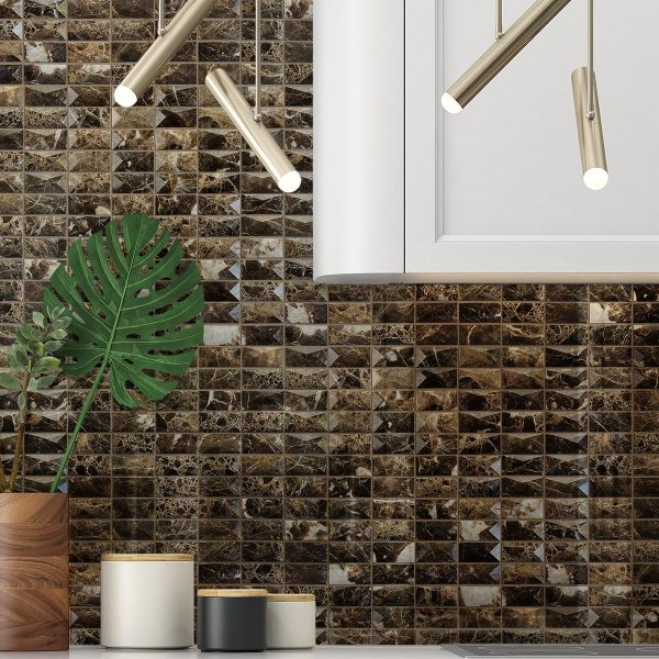 3D Dark Emperador Stone Mosaic tile sheet