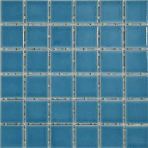 Blue Crackle Gloss Dot Mosaic tiles