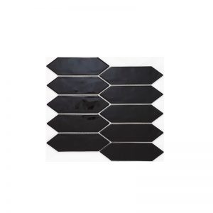 Huxley Black Long Hexagon mosaic tiles