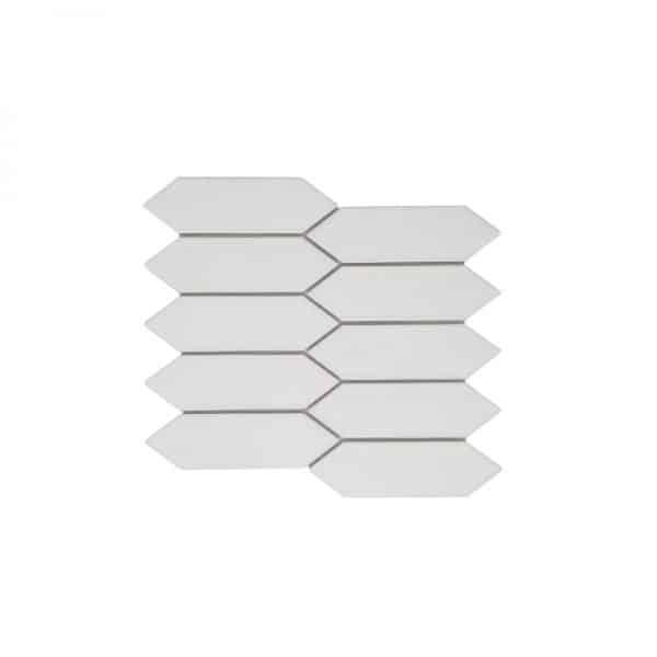 Huxley White Long Hexagon mosaic tiles