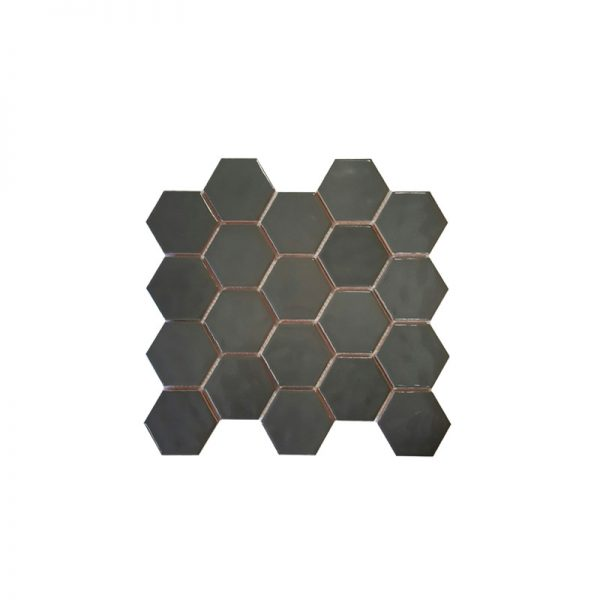 Dark Grey Hexagonals Mosaic tile sheet