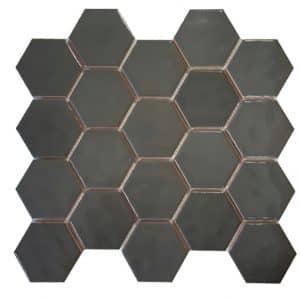 Dark Grey Hexagonals Mosaic tile sheet