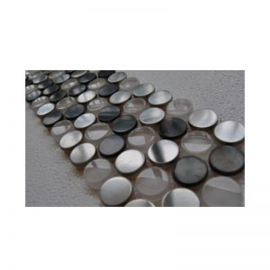 Round Stainless Steel and Glass Mix Mosaic Tile sheet