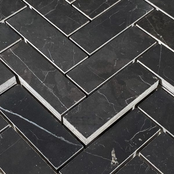 Nero Marquina Herringbone stone tiles