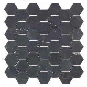 Nero Marquina Hex Honed stone tiles