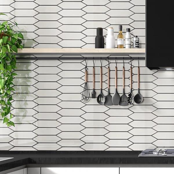 Picket White Mist Mosaic tiles