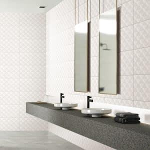 Winter Diamond Shadow White tiles